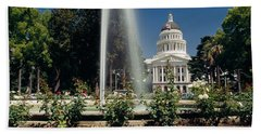 Fountain In A Garden In Front Beach Sheet by Panoramic Images