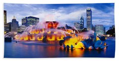 Fountain Lit Up At Dusk, Buckingham Beach Towel by Panoramic Images