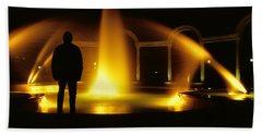 Beach Towel featuring the photograph Fountain Silhouette by Jason Politte