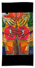 Beach Towel featuring the drawing Four Hands by Joseph J Stevens