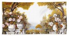 four seasons-autumn on lake Maggiore Beach Towel