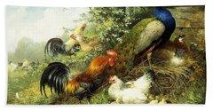 Fowl And Peacocks Beach Towel by Arthur Fitzwilliam Tait
