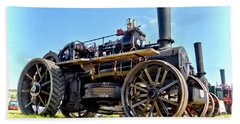 Fowler Ploughing Engine Beach Towel