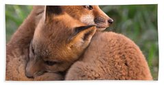 Fox Cubs Cuddle Beach Towel