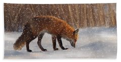 Fox In The Snow Beach Towel
