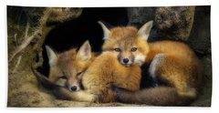 Best Friends - Fox Kits At Rest Beach Sheet by John Vose
