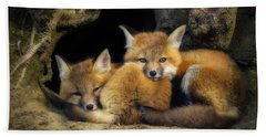 Best Friends - Fox Kits At Rest Beach Sheet