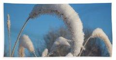 Foxtail Grass With Snow  Beach Towel