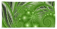 Fractal Abstract Green Nature Beach Towel by Gabiw Art