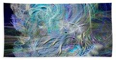 Fractal Feathers Blue Beach Towel