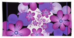 Fractal Flowers Modern Art Beach Towel