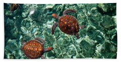 Fragile Underwater World. Sea Turtles In A Crystal Water. Maldives Beach Sheet