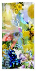 Beach Towel featuring the digital art Framed In Flowers by Cathy Anderson