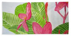 Frangipani Tree Beach Sheet by Elvira Ingram