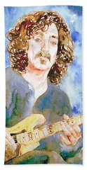 Frank Zappa Playing The Guitar Watercolor Portrait Beach Towel