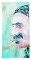 Frank Zappa Smoking A Cigarette Watercolor Portrait Beach Towel