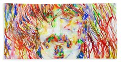 Frank Zappa Watercolor Portrait.1 Beach Towel