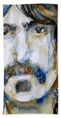Frank Zappa Watercolor Portrait.2 Beach Towel