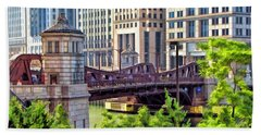 Chicago Franklin Street Bridge Beach Towel