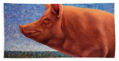 Free Range Pig Beach Towel by James W Johnson