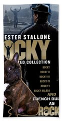 French Bulldog Art - Rocky Movie Poster Beach Towel