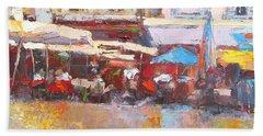 French Cafe Avignon Palette Knife Oil Painting Beach Towel