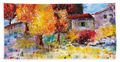 French Farm With Green Shutters Beach Towel
