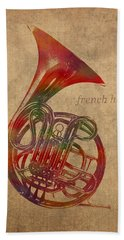 French Horn Brass Instrument Watercolor Portrait On Worn Canvas Beach Towel