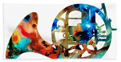 French Horn - Colorful Music By Sharon Cummings Beach Sheet by Sharon Cummings