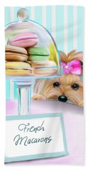 Beach Towel featuring the mixed media French Macarons by Catia Lee