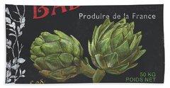 French Veggie Labels 1 Beach Sheet by Debbie DeWitt