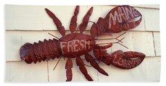 Fresh Maine Lobster Sign Boothbay Harbor Maine Beach Sheet