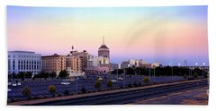 Fresno Skyline Into The Evening Beach Towel