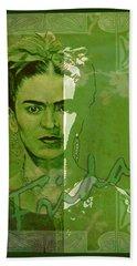 Frida Kahlo - Between Worlds - Green Beach Towel