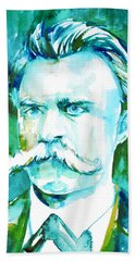 Friedrich Nietzsche Watercolor Portrait.1 Beach Sheet by Fabrizio Cassetta