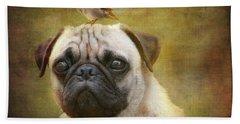 Friends Like Pug And Bird Beach Towel by Barbara Orenya
