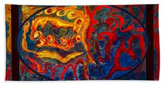 Friendship And Love Abstract Healing Art Beach Towel