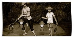 Frog Hunters Black And White Photograph Version Beach Towel