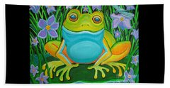 Frog On A Lily Pad Beach Towel
