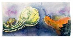 Froggy And Gourds Beach Towel by Yoshiko Mishina