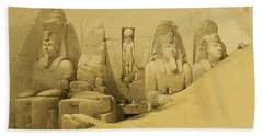 Front Elevation Of The Great Temple Of Aboo Simbel Beach Towel