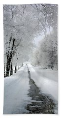 The Long Frosted Road Beach Towel
