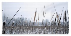 Frosty Cattails Beach Towel
