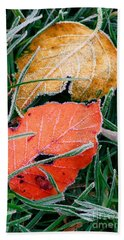 Frosty Leaves Beach Towel