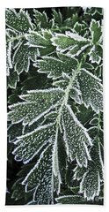 Frosty Leaves Macro Beach Towel