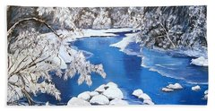Beach Towel featuring the painting Frosty Morning by Sharon Duguay