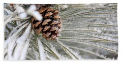 Frosty Norway Pine Beach Towel by Penny Meyers