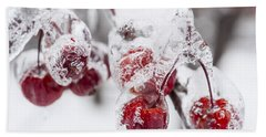 Frozen Crab Apples On Snowy Branch Beach Towel