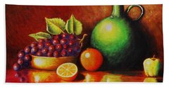 Beach Sheet featuring the painting Fruit And Jug by Gene Gregory