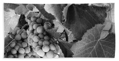 Fruit -grapes In Black And White - Luther Fine Art Beach Towel